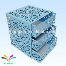 Caja de almacenaje de archivo de 3 capas de fantasía de metal en relieve para productos de oficina