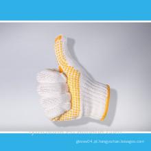 7 gauge algodão branco branqueado malha luvas de trabalho com pontos de PVC na palma