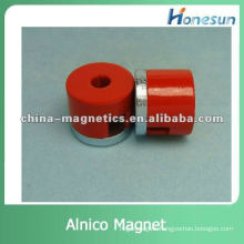 red rare earth alnico magnets with hole for education