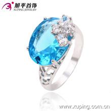 Moda Zircon Alloy chapeamento de prata anel de dedo jóias de cristal para as mulheres -13363