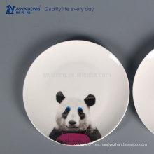 Panda pintura caliente venta de placas de cerámica de la cena, plato de cerámica impreso personalizado para la venta al por mayor