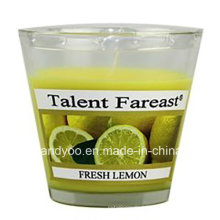 Bougie fraîche de citron et de soja parfumée en verre