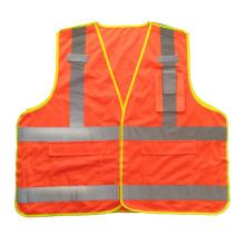 Gilet de sécurité réfléchissant en mesh fluorescent orange 5 points avec poches