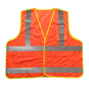 Fluorescente naranja 5 punto de ruptura de malla de seguridad chaleco reflectante con bolsillos
