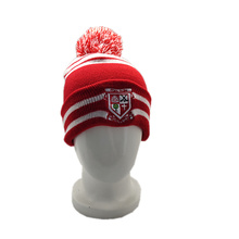 2019  comfortable  red striped beanie embroidered logo