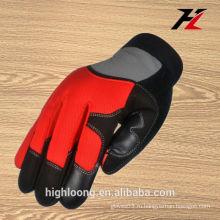 Красные двойные перчатки ладони, защитные рукавицы для инструментов