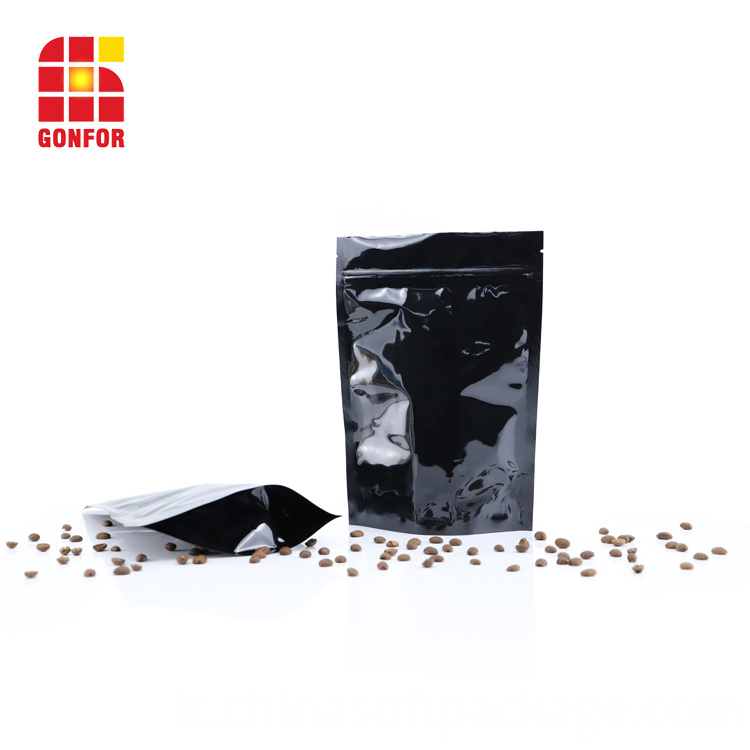 Black Aluminum Foil Pack Coffee Bags With Valve 6