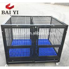 Grands cages de chien d'images de tube en acier avec des roues