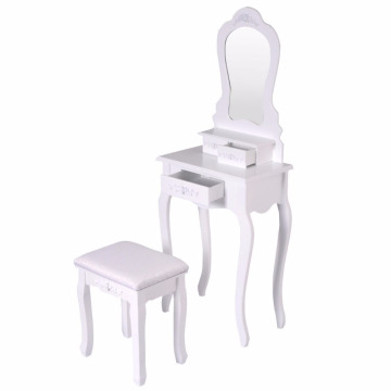 Bathroom Vanity Wood Makeup Dressing Table Stool Set with Mirror
