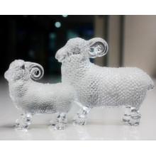 Estatueta de cristal de cristal de ovelhas adorável