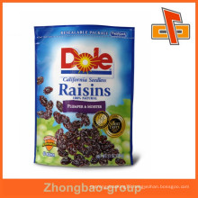 Beautiful cheap plastic printed raisin bag for snack packing at affordable prices with flesh lock