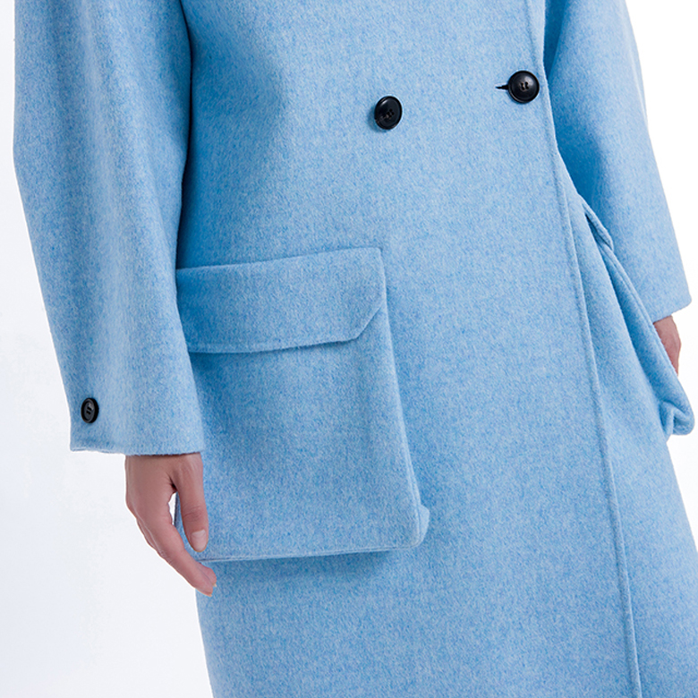 Ladies classic cashmere overcoat pocket
