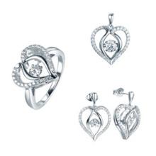 Mode Herz Schmuck Set 925 Sterling Silber