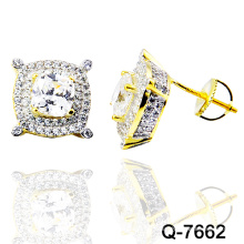 Nuevo diseño 925 Silver Fashion Jewellery Micro Pave Ear Studs (Q-7662)