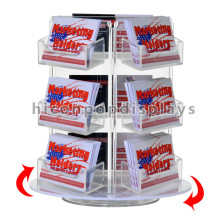 Book Store Greeting Card Wholesale Racks Cheap Countertop Acrylic Holders Rotating Gift Card Display