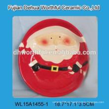 Placa de cerámica de Navidad para niños con diseño de Papá Noel