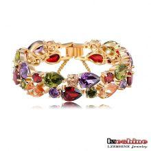 Bracelets de zircon cubiques colorés de luxe et de luxe pour femmes (CBR0004-C)