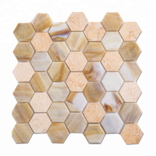 High-Quality Yellow Glass and Stone Hexagon Kitchen Wall Tile