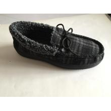 Men's Fur Check Moccasins Shoes with Collar