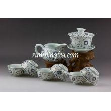 Set de vajilla de porcelana de oro de la flor, 1 Gaiwan, 1 jarra, 6 tazas