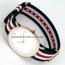 OEM Fashion Slim Watch with Nylon Watch Band Popular Design