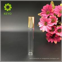5ml 8ml 10ml 12ml rolo claro na garrafa de vidro com bola de rolo de metal e tampa de alumínio de ouro