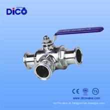 CF8 / CF8m Válvula de esfera de 3 vias sanitárias para a extremidade da braçadeira