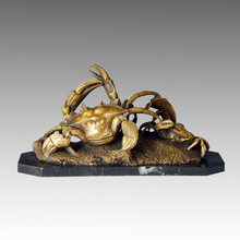 Animal Bronze Sculpture Mother-Son Crabs Craft Brass Statue Tpal-037