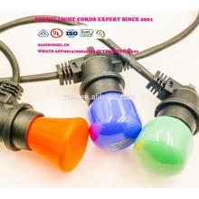 SLO-112 Cordes d'éclairage extérieur Cordon résistant avec 18 douilles 21 ampoules à incandescence (3 pièces de rechange) Edison Vintage Weatherproof