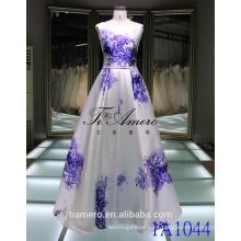 Plian teñido sash azul y blanco porcelana marco elegante satinado vestido de fiesta vestido de novia