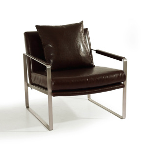 Stainless steel leg leather office chair