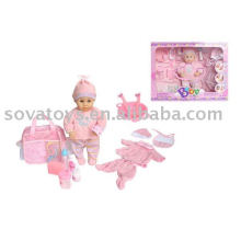 906050230 lovely girl baby toy doll,funny doll toy, B/O 14 inch baby doll carrier set