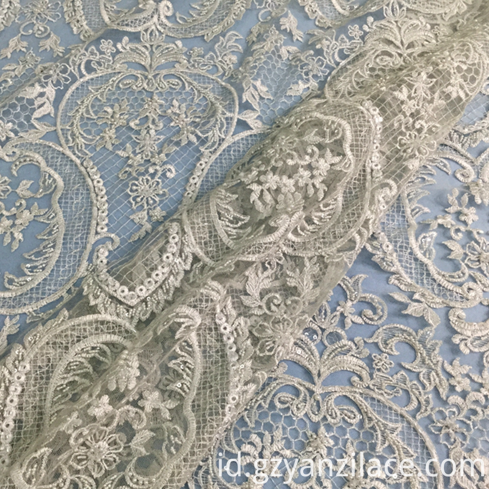 Ivory Embroidery Beaded Fabric