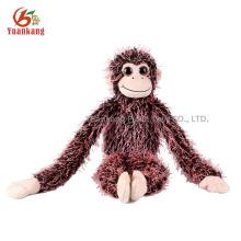 Grandes olhos de plástico longos braços e pernas macaco brinquedo de pelúcia