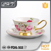 Luxus-Promotion Teetasse und Untertasse Großhandel mit Gold Hand