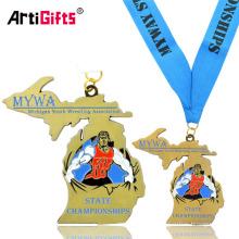 Medalla de atletismo de Michigan juvenil personalizada con cordón