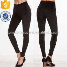 Black Velvet Skinny Leggings OEM/ODM Manufacture Wholesale Fashion Women Apparel (TA7027L)