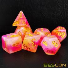 Bescon Magical Stone Dice Set Series, 7pcs Polyhedral RPG Dice Set RoseQuartz, Tinbox Set