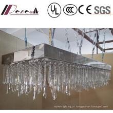 Candelabro de cristal claro luxuoso de suspensão retangular da lâmpada do projeto da alta qualidade