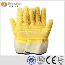 Manguito de segurança luvas de borracha amarela para mineração