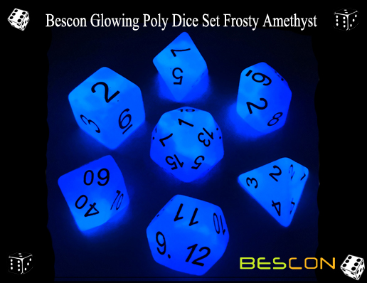 Bescon Glowing Poly Dice Set Frosty Amethyst-2