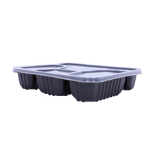 Black take out disposable plastic food box