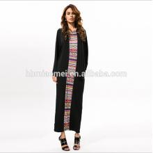 High Quality Fashionable Summer long sleeve Printed Rayon Floor Length Formal Dresses Women