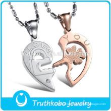 L-P0539 Couple Breakable Heart Pendnt Wholesale Jewelry Stainless Steel Key Locket Floating Pendant Trendy 2015 Necklace
