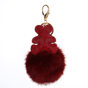 Full Rhinestone South Korea Velvet Bear Fur Pom Keychain