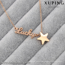 Collar-00048-Xuping Regalos personalizados Collar de placa de oro Collar de acero inoxidable