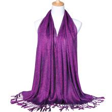 2017 Fashion lady cotton plain gold wire glitter shawl muslim hijab scarf dubai with tassels