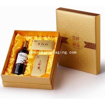 Ouro vermelho vinho e chá embalagem caixa de presente com cetim