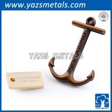 Pin personalizado de la solapa del color de la antigüedad del oro del metal del metal del ancla