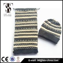 La alta calidad al por mayor calienta la bufanda hecha a mano y el sombrero
